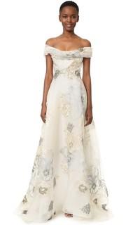Вечернее платье-трапеция с открытыми плечами Marchesa