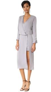 Миди-платье с драпированным V-образным вырезом Halston Heritage
