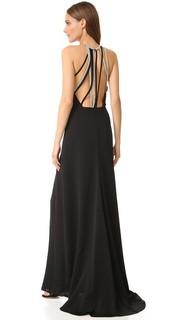 Вечернее платье с высоким вырезом и несколькими цепочками на спине Halston Heritage