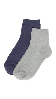Набор из двух пестрых носков до щиколотки в рубчик Madewell