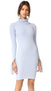 Платье с воротником под горло из трикотажа в рубчик Jacquemus
