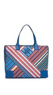 Объемная сумка Ella со стеганой отделкой, полосками и короткими ручками Tory Burch