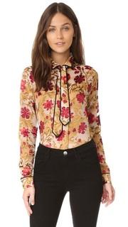 Рубашка на пуговицах Cora с завязками на шее Alice + Olivia