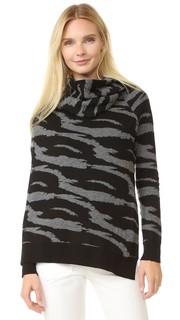 Жаккардовый шерстяной свитер с драпировкой и запахом Edun