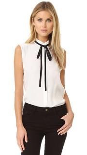Блуза без рукавов с оборками на вырезе Frame