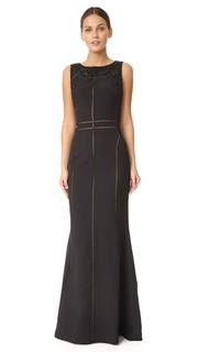 Длинное платье без рукавов из крепа Marchesa Notte