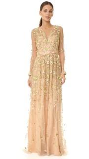 Вечернее платье с глубоким V-образным вырезом и вышивкой Marchesa Notte