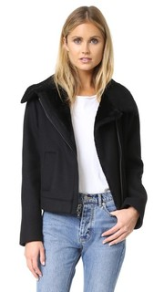 Двусторонняя байкерская куртка с короткой шерстью Vince