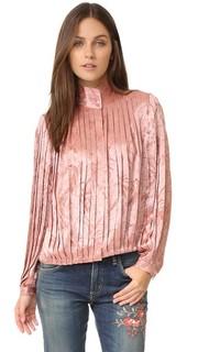 Плиссированная блуза Halina с высокой горловиной Alice + Olivia