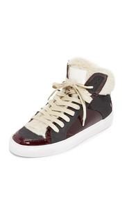 Кроссовки с высоким берцем на шнуровке MM6