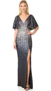 Вечернее платье с блестками с эффектом «омбре» Marchesa Notte