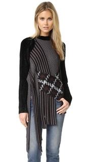 Жаккардовый пуловер с драпировкой и округлым вырезом 3.1 Phillip Lim