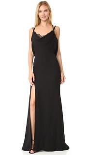 Шелковое вечернее платье с воротником-хомутом Reem Acra