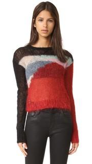 Укороченный свитер из ажурного трикотажа из мохера R13