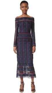 Кружевное миди-платье с вышивкой Rose Yigal Azrouel