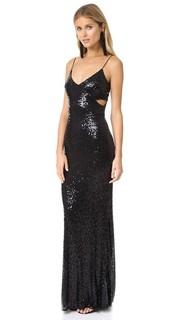 Вечернее платье с запахом, расшитое блестками Badgley Mischka Collection