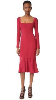 Трикотажное расклешенное платье с длинными рукавами Cushnie Et Ochs