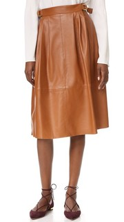 Кожаная юбка с пряжкой Derek Lam