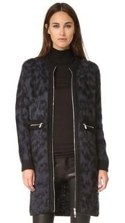 Жаккардовое пальто из мохера с леопардовым принтом Sonia by Sonia Rykiel