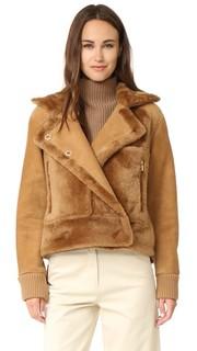 Летная куртка с подкладкой из короткой шерсти. Tibi