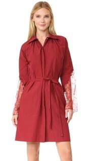 Платье из ткани в рубчик с кружевными рукавами Nina Ricci