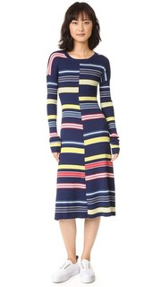 Платье в полоску с цветными блоками Kenzo