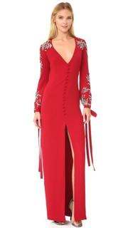 Вечернее платье с V-образным вырезом и бантами на манжетах Monique Lhuillier