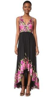 Асимметричное вечернее платье с цветочной вышивкой Marchesa Notte