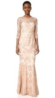 Полностью расшитое вечернее платье-солнце Marchesa Notte