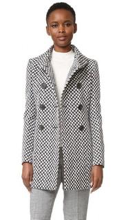 Двубортное пальто с высоким воротником Derek Lam