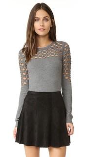 Пуловер с решетчатой отделкой и отстрочкой Milly