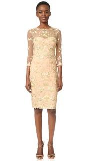 Коктейльное платье с вышивкой ришелье Marchesa Notte