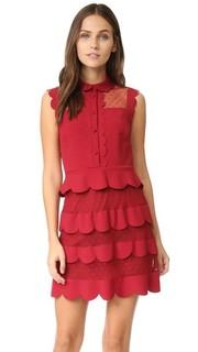 Платье с оборками и воротником RED Valentino