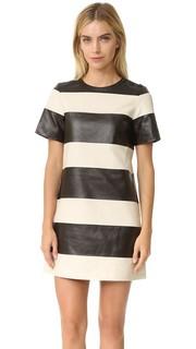 Кожаное платье в полоску Marc Jacobs