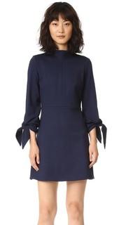 Эластичное платье Bond с завязками на рукавах и воротником под горло Tibi