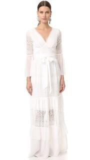Длинное кружевное платье с завязками-веревками Temperley London