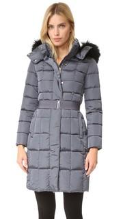 Пальто с поясом и меховой отделкой Add Down