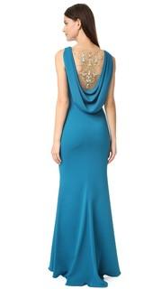 Вечернее платье из крепа с воротником-хомутом на спине и вышитой вставкой сзади Marchesa Notte