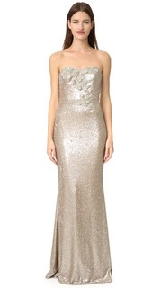 Вечернее платье без бретелек с блестками Marchesa Notte