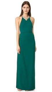 Вечернее платье из крепа с открытой спиной и отделкой бисером Marchesa Notte