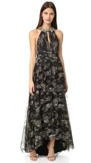 Расшитое бисером длинное платье Marchesa Notte