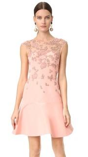 Платье Illusion с короткими рукавами и вышивкой Monique Lhuillier