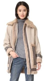 Пальто из короткой шерсти с комбинированными материалами Rebecca Taylor