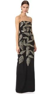 Прямое вечернее платье с вышивкой Lela Rose