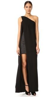 Вечернее платье с открытым плечом и подкладкой в виде мини-платья Monique Lhuillier