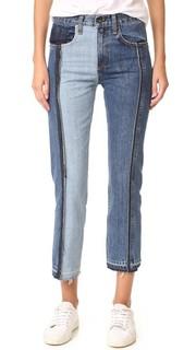 Двухцветные укороченные джинсы Rag & Bone/Jean