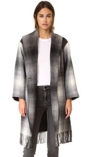 Пальто-накидка с бахромой и объемным воротником-шалью T by Alexander Wang