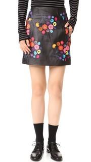 Кожаная юбка Aneta с принтом Tanya Taylor