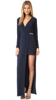 Асимметричная вечернее платье с V-образным вырезом Halston Heritage