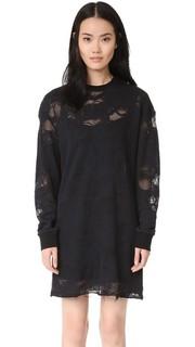 Платье-туника из махровой ткани с эффектом поношенности Kendall + Kylie